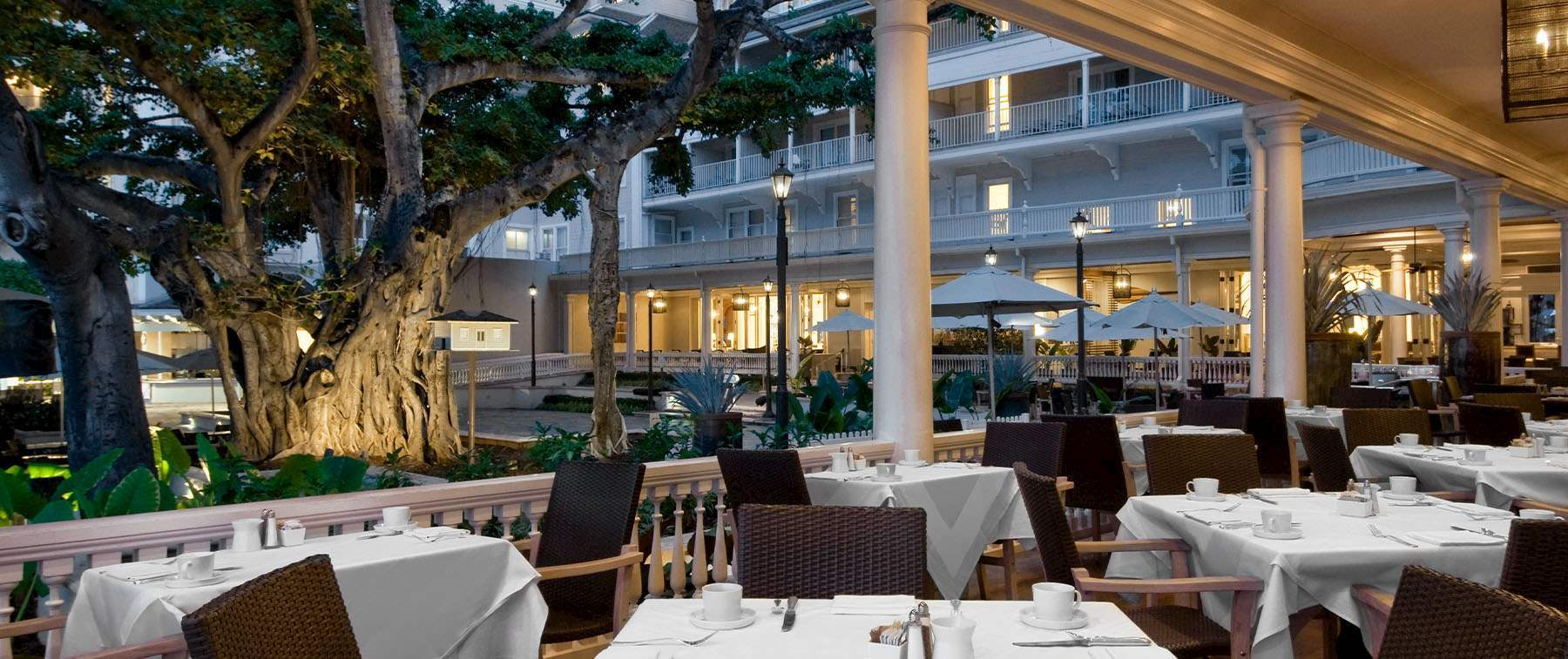 opt to dine indoors under original 19th century architecture in the Grand Salon